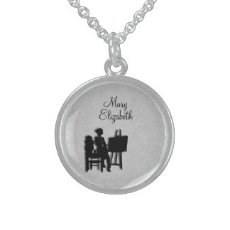 Personalized Teacher's Room Leather Look Sterling Silver Necklace