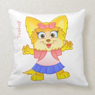 Personalized Teakup Yorkie Cartoon Pillow