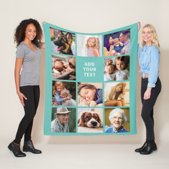 Personalized Teal 11 Photo Collage Fleece Blanket
