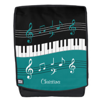 Personalized Teal and  Black music themed Backpack