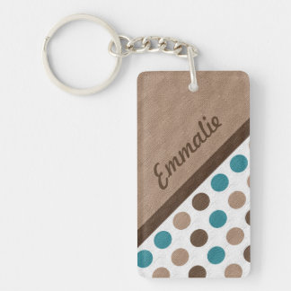 Personalized Teal and Brown Polka Dot Keychain