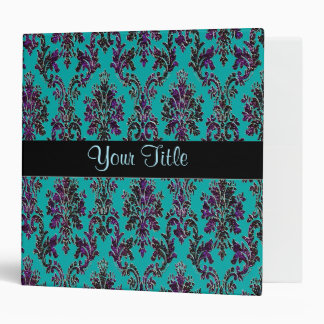 Personalized Teal and Dark Glitter Damask Binder