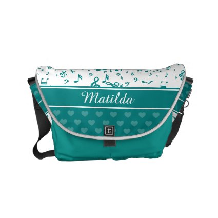 Personalized teal and white musical notes design courier bag