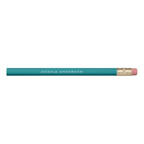 Personalized Teal And White Pencil