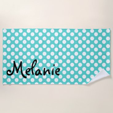 Beach Themed Personalized Teal and White Polka Dot Beach Towel