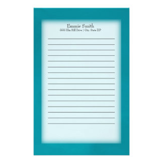 Personalized Teal and White Stationery