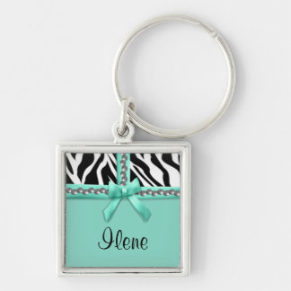 Personalized Teal And White Zebra Stripes And Gems Silver-Colored Square Keychain