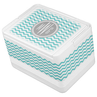 Personalized Teal Aqua Chevron Monogrammed Drink Cooler