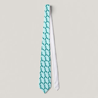 Personalized Teal Awareness Ribbon Tie