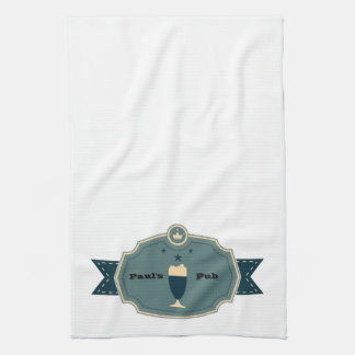 Personalized Teal Beer Label Towel