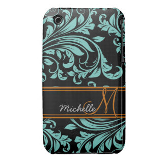 Personalized teal blue and black  floral damask Case-Mate iPhone 3 case