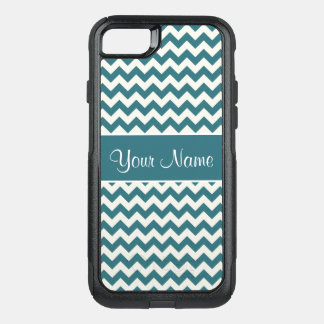 Personalized Teal Blue and White Chevrons OtterBox Commuter iPhone 8/7 Case