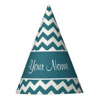 Personalized Teal Blue and White Chevrons Party Hat