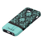 Personalized Teal Blue & Black Damask iPhone 5 Case