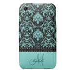 Personalized Teal Blue & Black Damask Case-Mate iPhone 3 Case