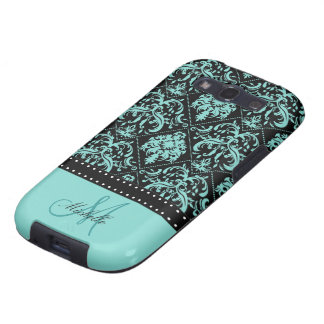 Personalized Teal Blue & Black Damask Samsung Galaxy S3 Case