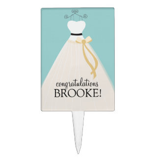 Personalized Teal Blue Bridal Shower Cake Topper