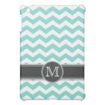Personalized Teal BLue Chevron with mongram Cover For The iPad Mini