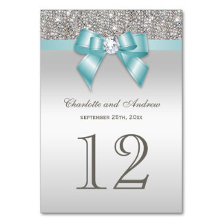 Personalized Teal Blue Faux Bow Silver Sequins Card