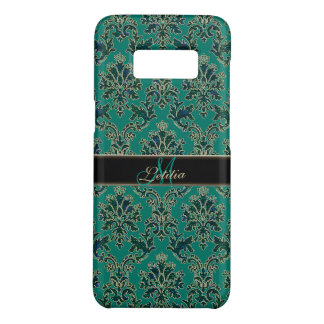 Personalized Teal Blue Green Damask Galaxy Case
