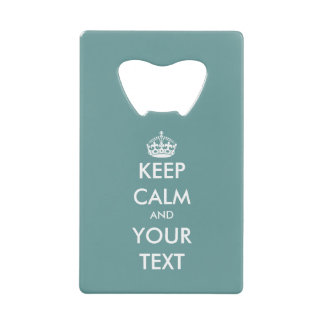 Personalized teal blue keep calm bottle opener