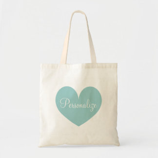 Personalized teal blue love heart shape tote bag