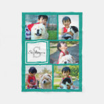 Personalized Teal Blue Photo Collage Monogrammed Fleece Blanket