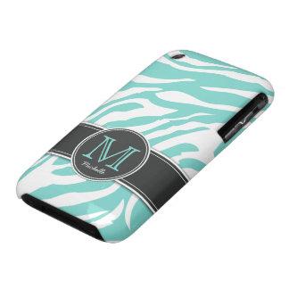 Personalized Teal Blue & White Zebra stripes iPhone 3 Case-Mate Case