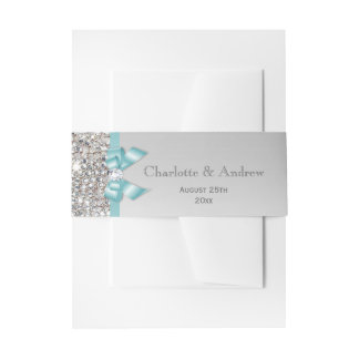 Personalized Teal Bow & Diamonds Wedding Invitation Belly Band