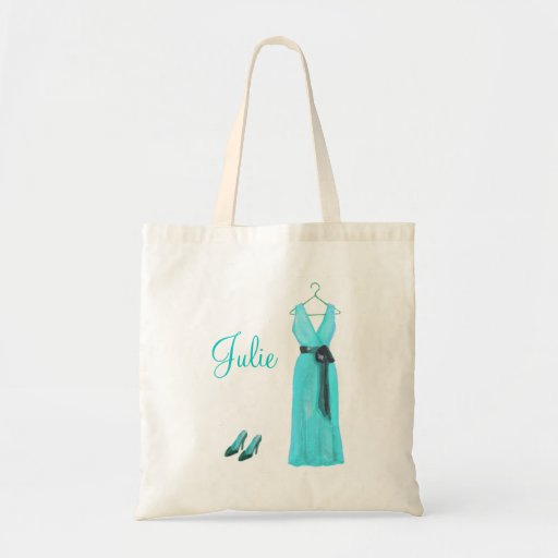 Personalized Teal Bridesmaid Tote Bags