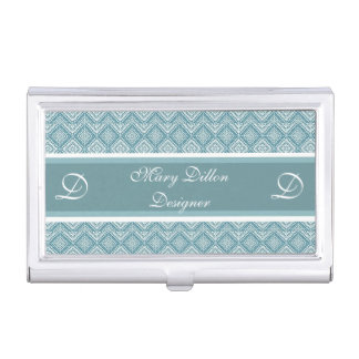 Personalized Teal Business Card Holder