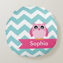 Personalized Teal Chevron Pink Owl Round Pillow