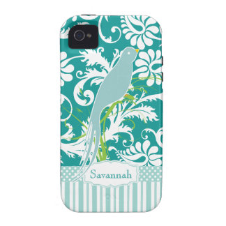 Personalized Teal Damask Love Bird iPhone 4 Cover