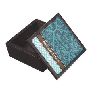 Personalized Teal Damask Polka Dots Jewelry Box Premium Keepsake Boxes