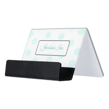 Professional Business Personalized Teal Dots Name  Business Card Holder