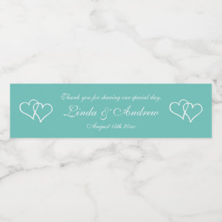 Personalized teal double heart wedding party favor water bottle label