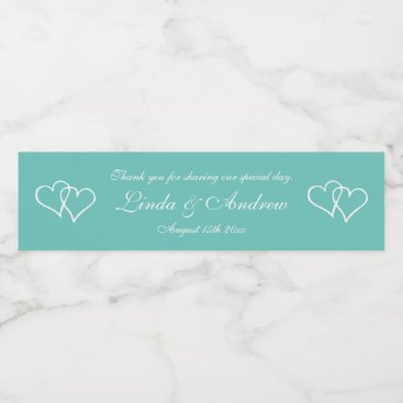 logotees Personalized teal double heart wedding party favor water bottle label