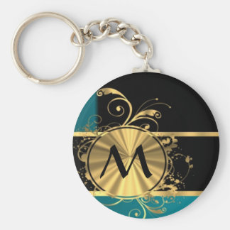 Personalized teal green vintage monogram keychain