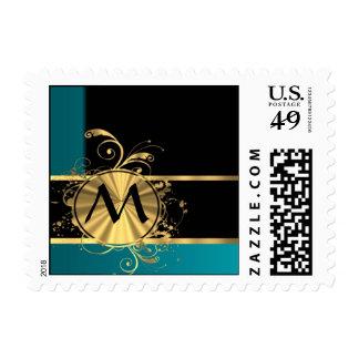 Personalized teal green vintage monogram postage stamp