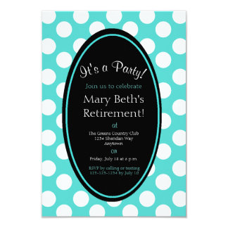 Personalized Teal Polka Dot Party Invitation