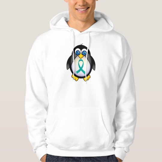 Personalized Teal Ribbon Penguin Hoodie
