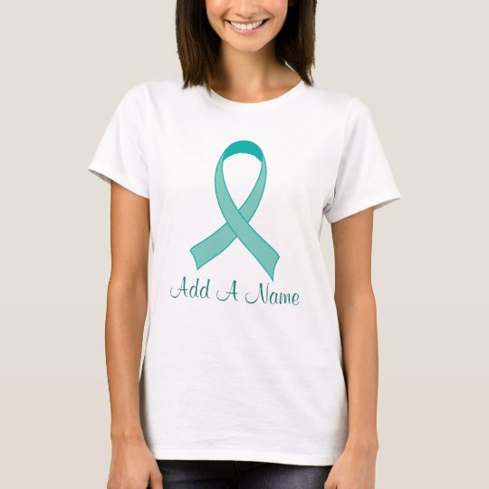 Personalized Teal Ribbon Tshirt Gift