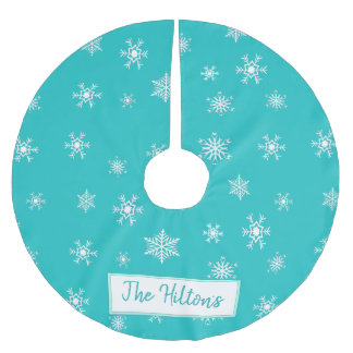 Personalized Teal Snowflake Christmas Skirt Brushed Polyester Tree Skirt