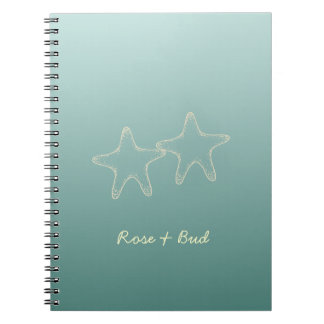Personalized Teal Starfish Notebook