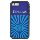 Personalized Teal Turquoise Blue Star Burst Case Tough Xtreme iPhone 6 Case