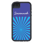 Personalized Teal Turquoise Blue Star Burst Case iPhone 5 Cover