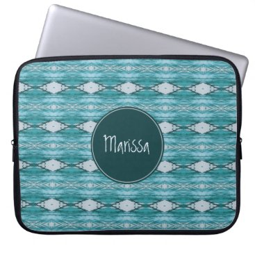 Aztec Themed Personalized Teal Watercolor Aztec Tribal Pattern Laptop Sleeve