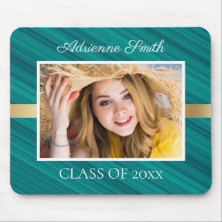 Personalized Teal White Gold Graduation Photo Mouse Pad