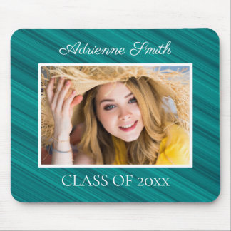 Personalized Teal White Graduation Photo Mouse Pad