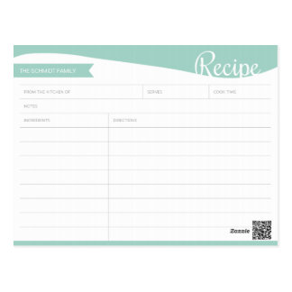 Personalized Teal & White Recipe Card